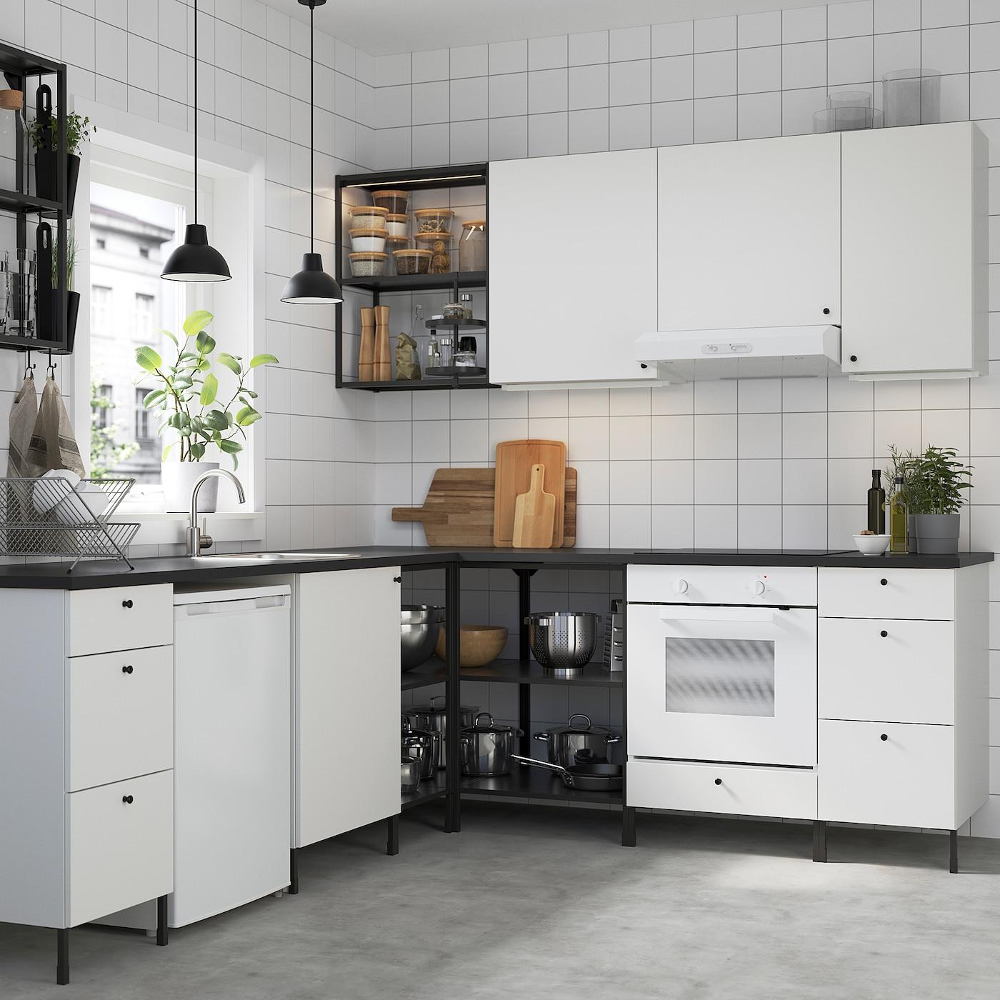 ENHET Kutna kuhinja, antracit/bijela