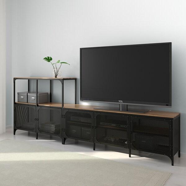 FJÄLLBO komb/TV crna 250 cm 36 cm 95 cm