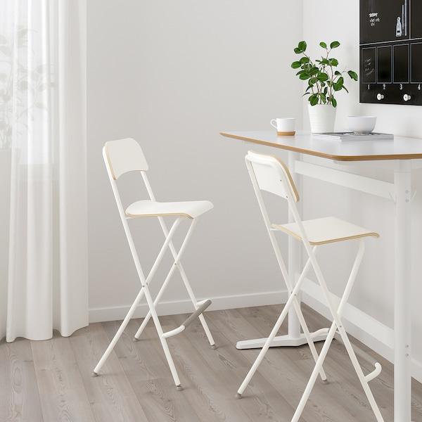 FRANKLIN Barski stolac s naslon,sklopiv, bijela/bijela, 74 cm