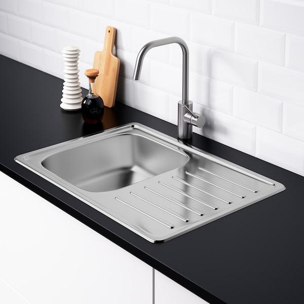 FYNDIG Ugrad sudoper,1 baz+ocjeđivač, nehrđajući čelik, 70x50 cm