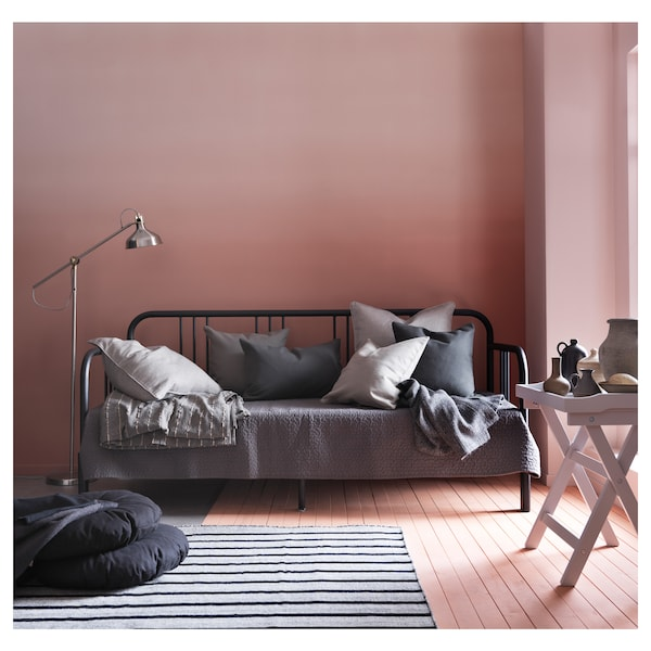 FYRESDAL Dnevni krevet s 2 madraca, crna/Malfors tvrdi, 80x200 cm