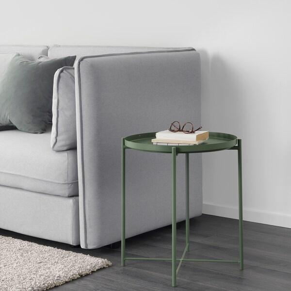 GLADOM stol/poslužavnik tamnozelena 53 cm 45 cm