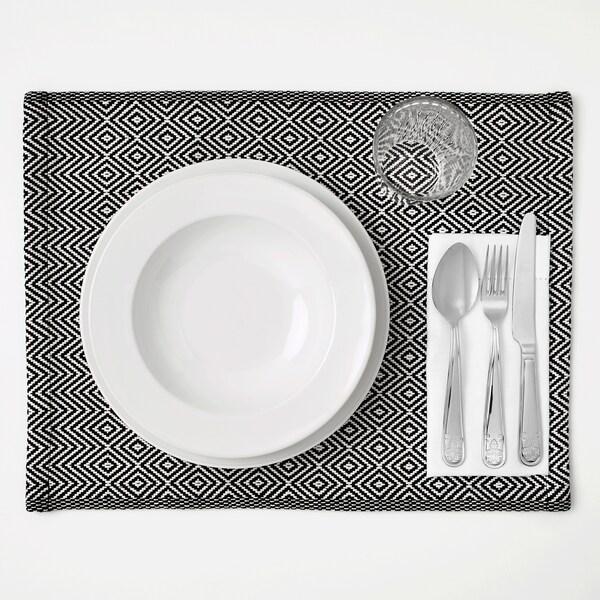 GODDAG Podmetač za stol, crna/bijela, 35x45 cm