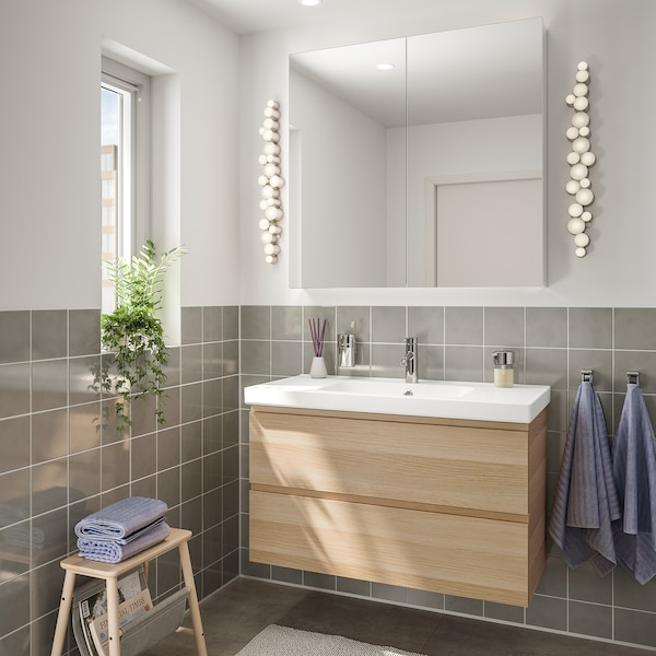 GODMORGON / ODENSVIK kupaonski namještaj, 4 kom. efekt bijelo bajcanog hrasta/Dalskär miješalica za vodu 103 cm 60 cm 49 cm 89 cm