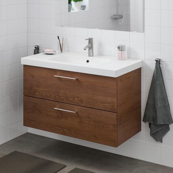 GODMORGON / ODENSVIK Element s 2 ladice, za umiv, smeđe bajcani efekt jasena/Dalskär miješalica za vodu, 103x49x64 cm