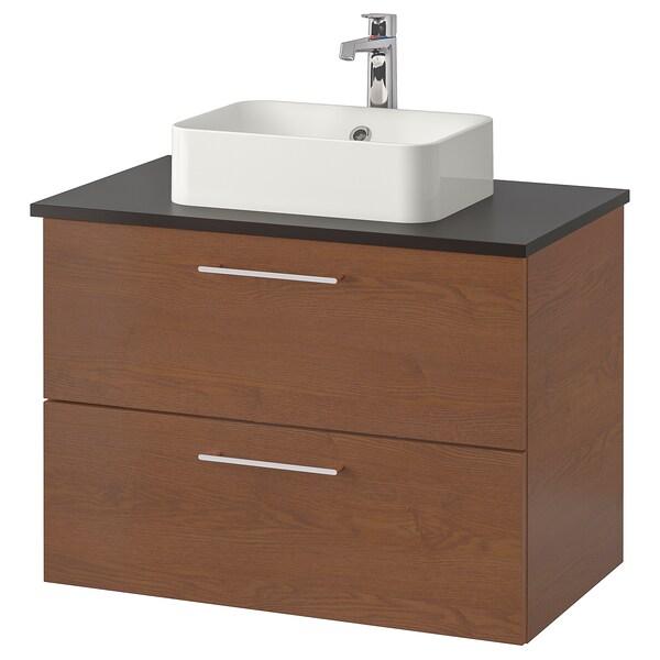 GODMORGON/TOLKEN / HÖRVIK Elem za umiv+ploča 45x32umiv, smeđe bajcani efekt jasena/antracit Brogrund miješalica za vodu, 82x49x72 cm