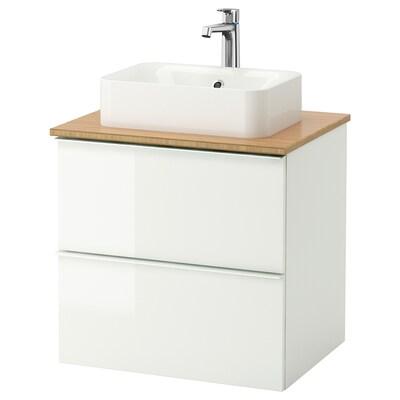 GODMORGON/TOLKEN / HÖRVIK Elem za umiv+ploča 45x32umiv, visoki sjaj bijela/bambus Brogrund miješalica za vodu, 62x49x72 cm