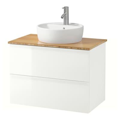 GODMORGON/TOLKEN / TÖRNVIKEN Elem za umiv+ploča 45 umiv, visoki sjaj bijela/bambus Dalskär miješalica za vodu, 82x49x74 cm