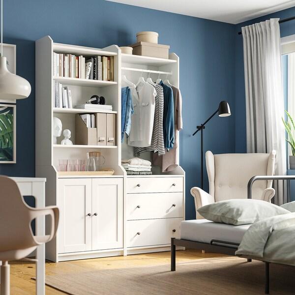 HAUGA Komb/odlaganje, bijela, 139x46x199 cm