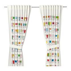 HEMMAHOS, zavjese s vezicama, 1 par, 120x300 cm, višebojno