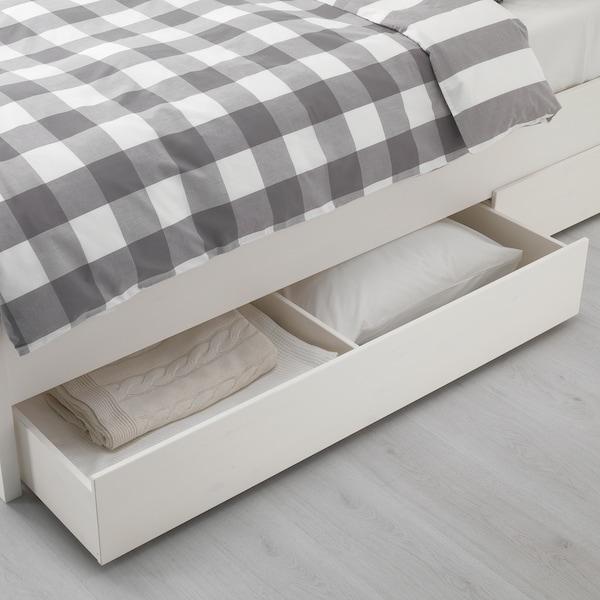 HEMNES Okvir kreveta+4kutije z odlag, bijeli bajc/Leirsund, 140x200 cm