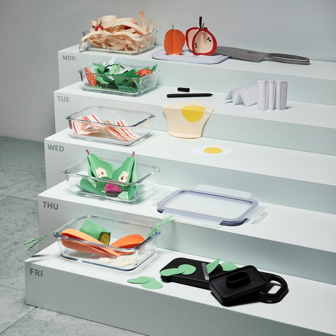 IKEA 365+ Posuda za hranu, pravokutno/staklo, 1.0 l