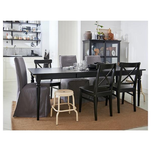 INGATORP Produljivi stol, crna, 155/215x87 cm
