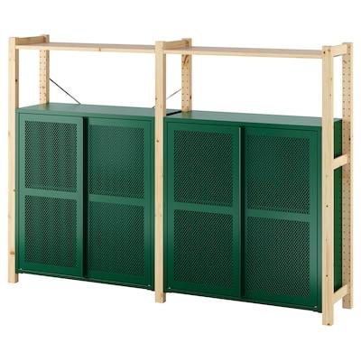 IVAR 2 dijela/police/elementi, bor/zelena mreža, 175x30x124 cm