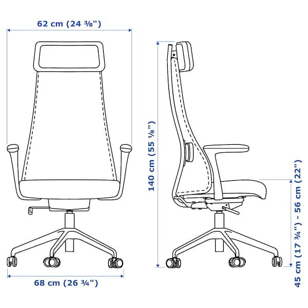 JÄRVFJÄLLET Uredska stolica s naslonima za ruke, Gunnared bež/bijela