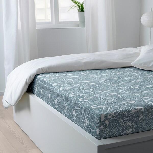 JÄTTEVALLMO Navlaka za krevet, bijela/plava, 160x200 cm