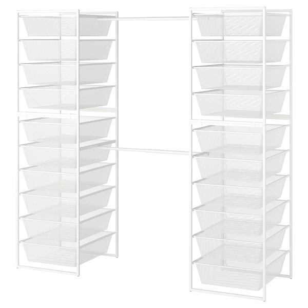 JONAXEL Okvir/mrežaste košare/šipke z odjeć, bijela, 142-178x51x173 cm