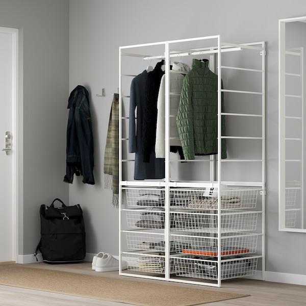 JONAXEL Okvir/žičane košare/šipke z odjeć, bijela, 99x51x173 cm