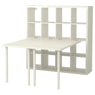 KALLAX Komb/radni stol, bijela, 147x147x159 cm