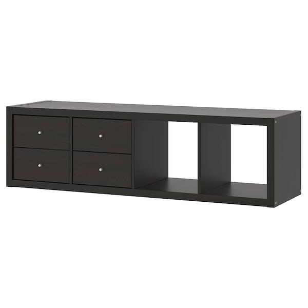 KALLAX Regal+ 2 umetka, crno-smeđa, 42x147 cm
