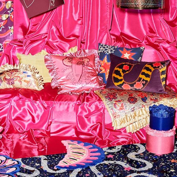KARISMATISK Lagana deka, cvjetni uzorak bež, 150x200 cm