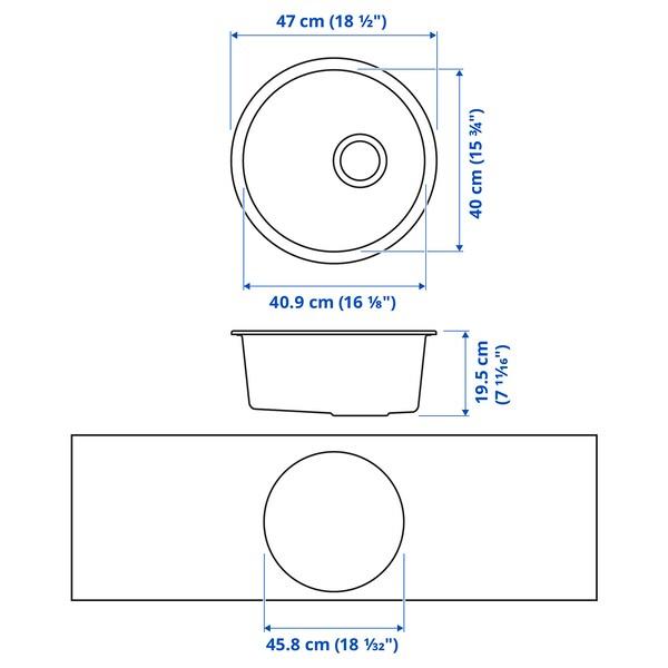 KILSVIKEN Ugrad sudoper,1 bazen, crna/kompozitni kvarc, 47 cm