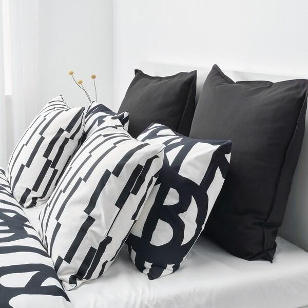 KINNEN Ukrasna jastučnica, bijela/crna, 50x50 cm