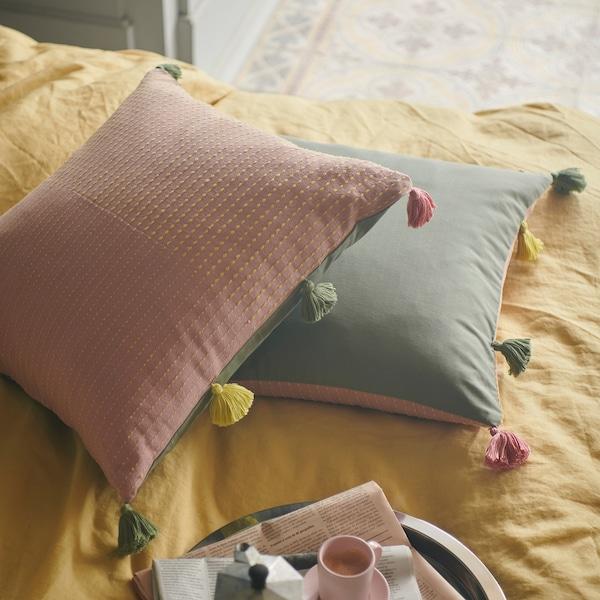 KLARAFINA ukrasna jastučnica ručno izrađeno roza/zelena 50 cm 50 cm
