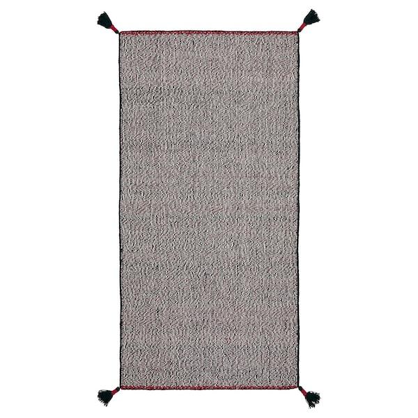 KOKSEBY Tepih, ravno tkanje, crna/bijela, 75x150 cm