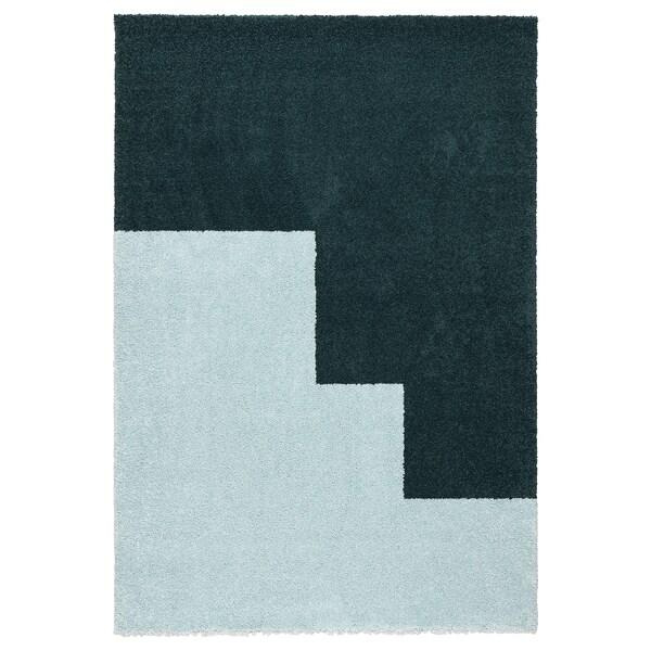 KONGSTRUP Tepih, visoki flor, svijetloplava/zelena, 133x195 cm