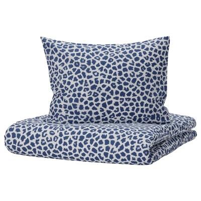 KVASTFIBBLA Navlaka za poplun i 2 jastučnice, bijela/tamnoplava, 200x200/50x60 cm