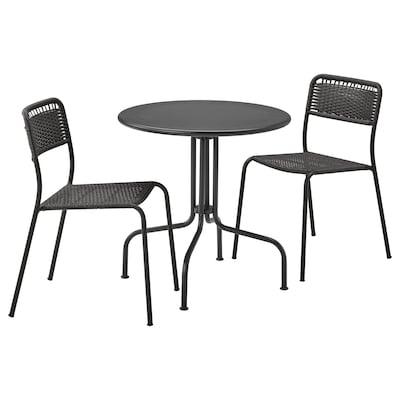 LÄCKÖ / VIHOLMEN Stol i 2 stolice, vanjski, siva/tamnosiva
