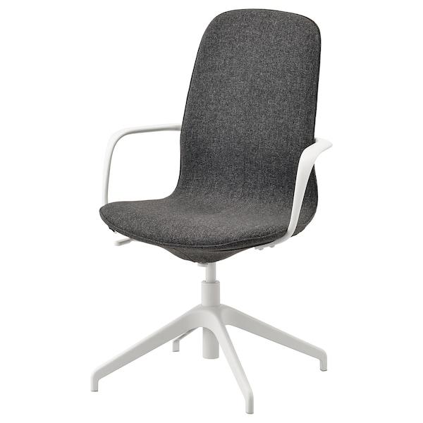 LÅNGFJÄLL Konfer stolica s naslonima za ruke, Gunnared tamnosiva/bijela
