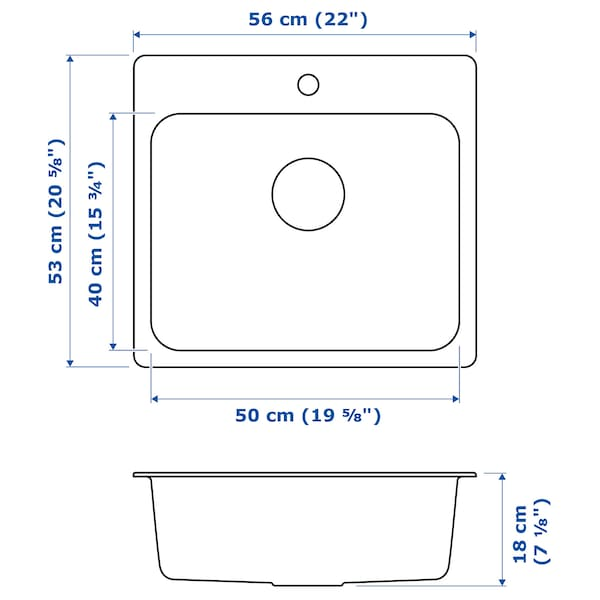LÅNGUDDEN Ugrad sudoper,1 bazen, nehrđajući čelik, 56x53 cm