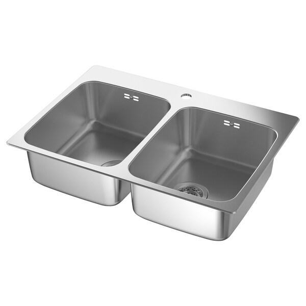 LÅNGUDDEN Ugrad sudoper,2 bazena, nehrđajući čelik za radne ploče po mjeri, laminat, 75x53 cm
