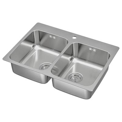 LÅNGUDDEN Ugrad sudoper,2 bazena, nehrđajući čelik, 75x53 cm