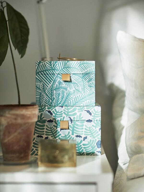 LANKMOJ ukrasna kutija, 2 kom zelena/plava/s cvjetovima