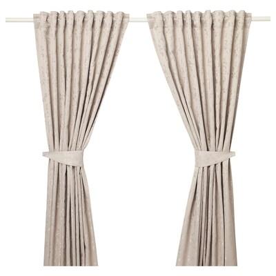 LISABRITT Zavjese s vezicama, 1 par, bež, 145x300 cm