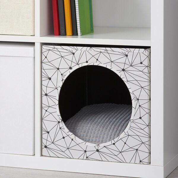 LURVIG Kućica za mačku s jastukom, bijela/svijetlosiva, 33x38x33 cm