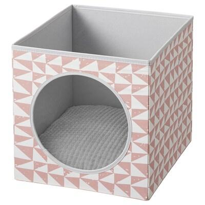 LURVIG Kućica za mačku s jastukom, roza/svijetlosiva, 33x38x33 cm