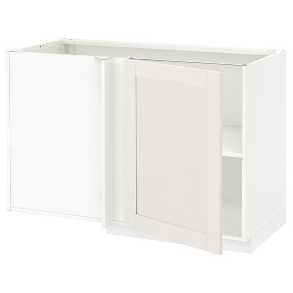 METOD Kutni podni element+polica, bijela/Sävedal bijela, 128x68 cm