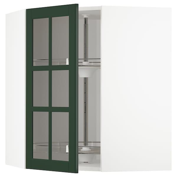 METOD Kutni zid element+okr umet/stk vrat, bijela/Bodbyn tamnozelena, 68x80 cm