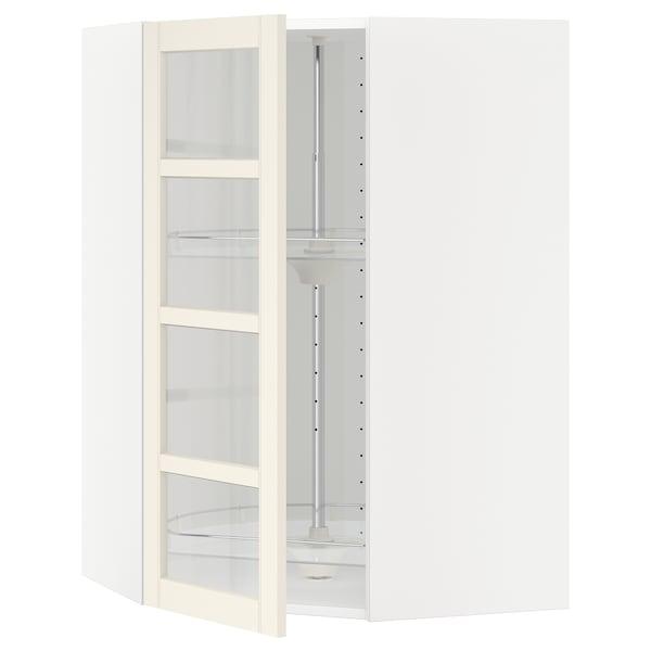 METOD Kutni zid element+okr umet/stk vrat, bijela/Hittarp krem, 68x100 cm