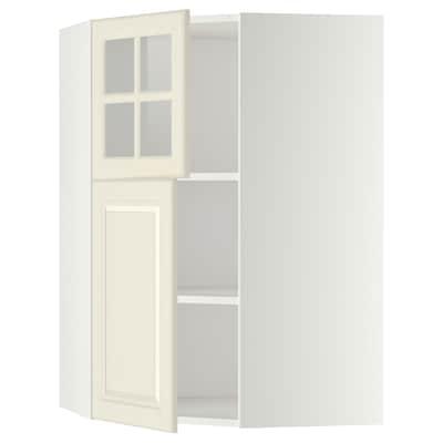 METOD Kutni zidni elem+polic/1vr/1stak vr, bijela/Bodbyn krem, 68x100 cm