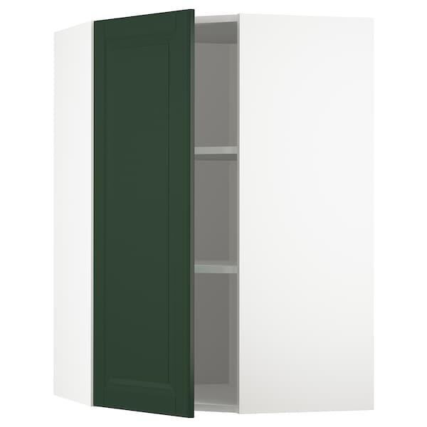 METOD Kutni zidni element+police, bijela/Bodbyn tamnozelena, 68x100 cm