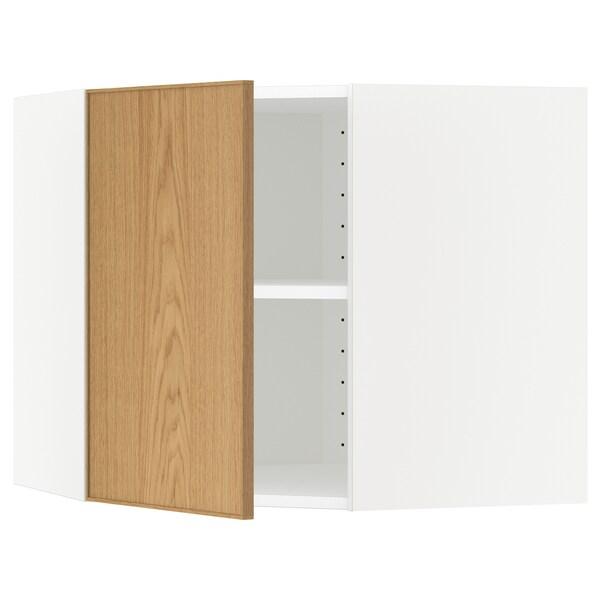 METOD Kutni zidni element+police, bijela/Ekestad hrast, 68x60 cm