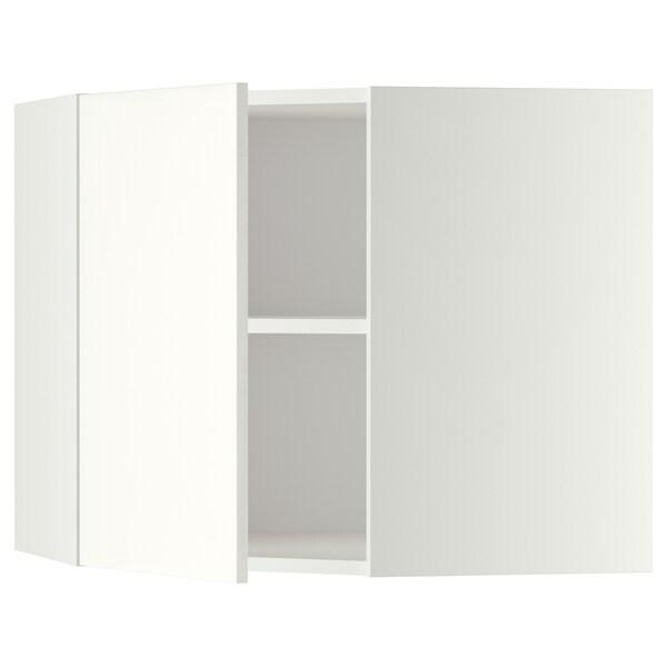 METOD Kutni zidni element+police, bijela/Häggeby bijela, 68x60 cm