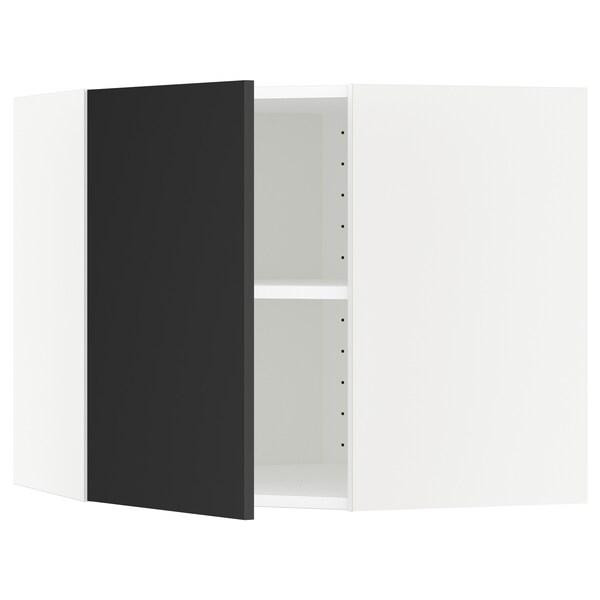 METOD Kutni zidni element+police, bijela/Uddevalla antracit, 68x60 cm