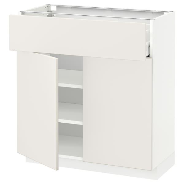 METOD / MAXIMERA podni element+ladica/2 vrata bijela/Veddinge bijela 80.0 cm 37 cm 80.0 cm