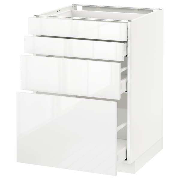 METOD / MAXIMERA Pod elem,4fr/4lad, bijela/Ringhult bijela, 60x60 cm